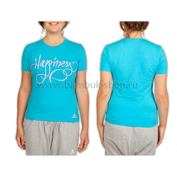 Футболка с принтом «Happiness» женская голубая
