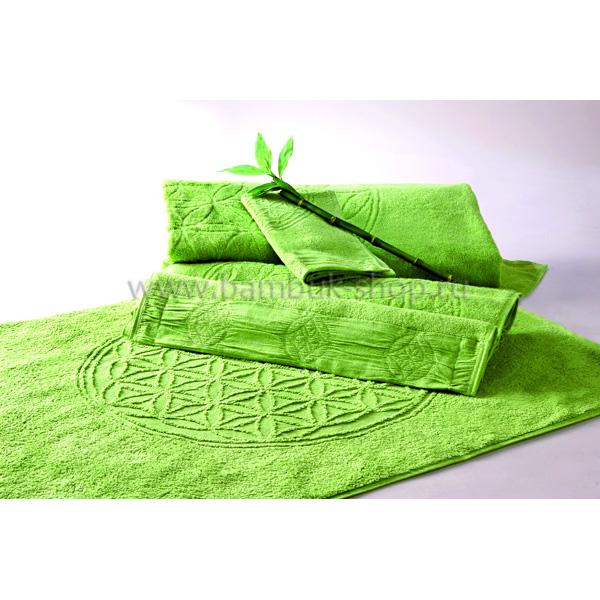 """Полотенце махровое """"Цветок Жизни"""" с драгоценными камнями зеленое"""